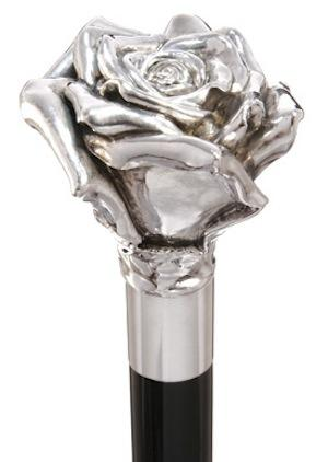 American Beauty Rose Sterling Silver Handle Walking Stick