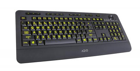 Azio Vision Backlit USB Keyboard with Large Print keys and 5 Interchangeable Backlight Colors (KB506) - Wired