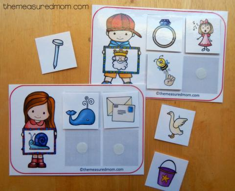 Rhyming Word Sorting Mat