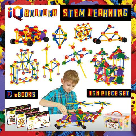 IQ BUILDER | STEM Learning Toys | Creative Construction Engineering | Fun Educational Building Toy Set for Boys and Girls Ages 3 4 5 6 7 8 9 10 Year Old | Best Toy Gift for Kids | Top Blocks Game KitIQ BUILDER | STEM Learning Toys | Creative Construction